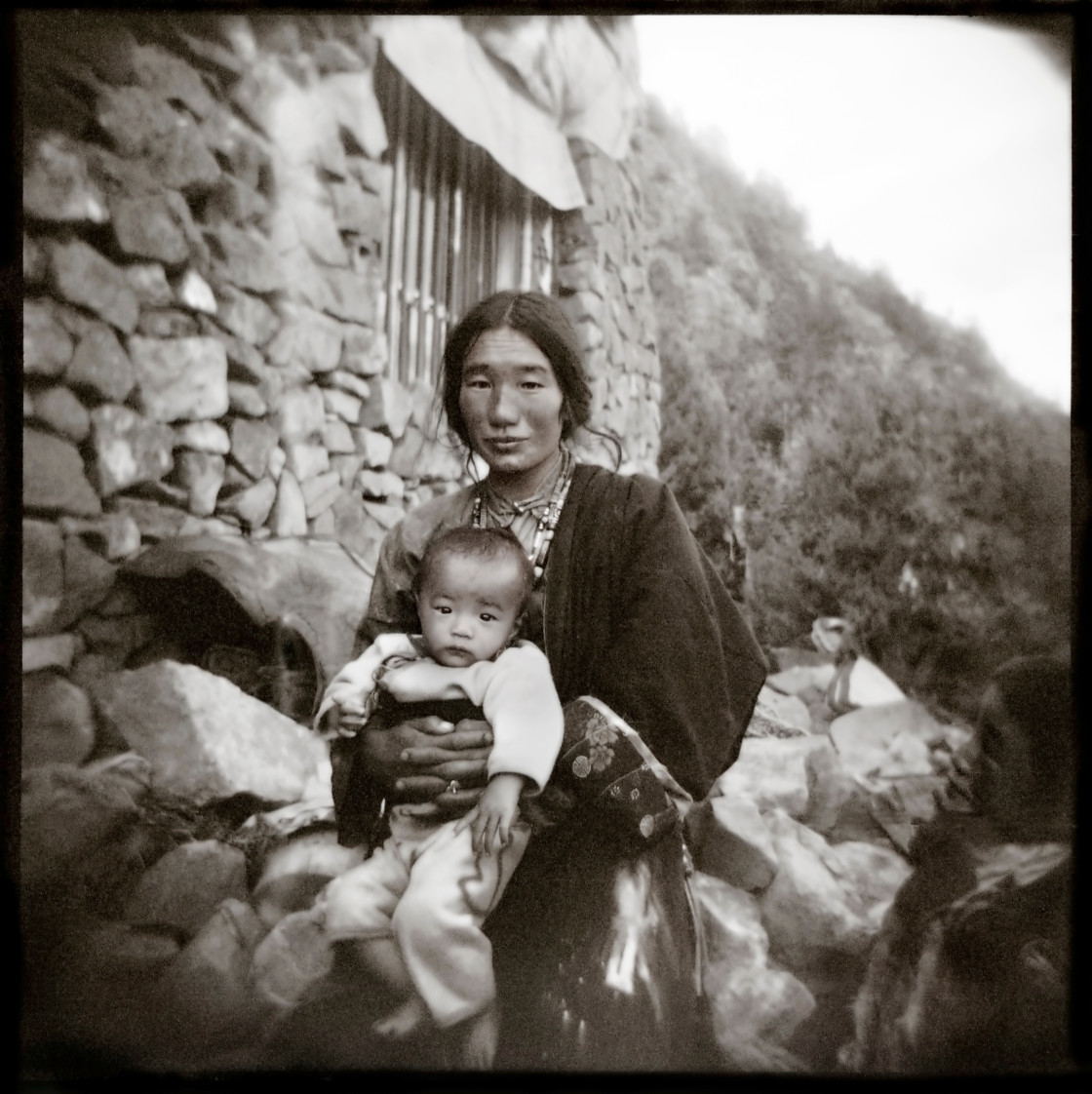 """Khampa mother and baby., Tibet"" stock image"