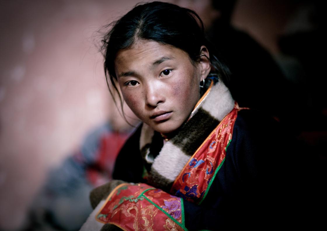 """""""Young Nomad girl, Nangchen, Tibet"""" stock image"""