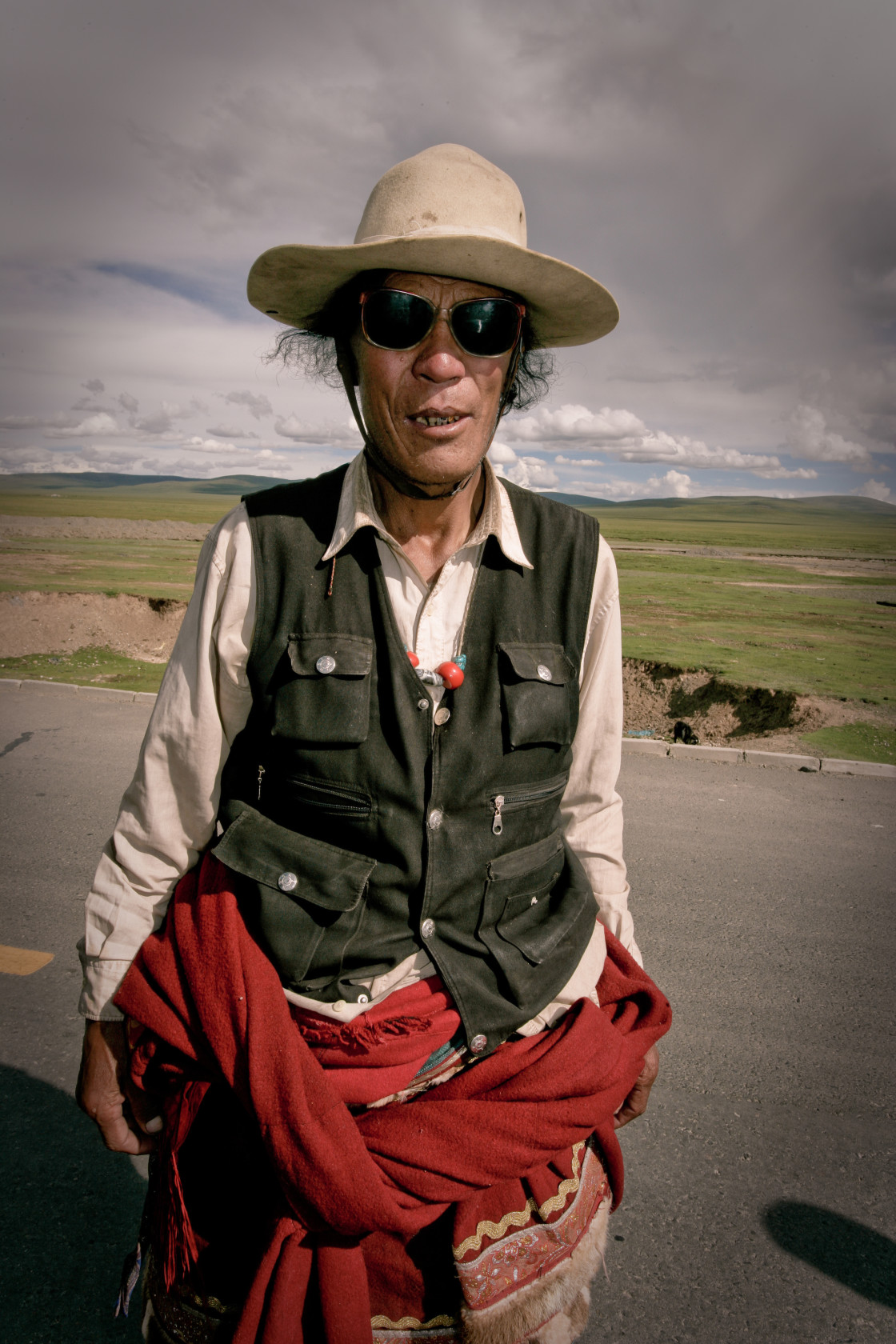 """Khampa Man with hat, Nangchen, Tibet"" stock image"