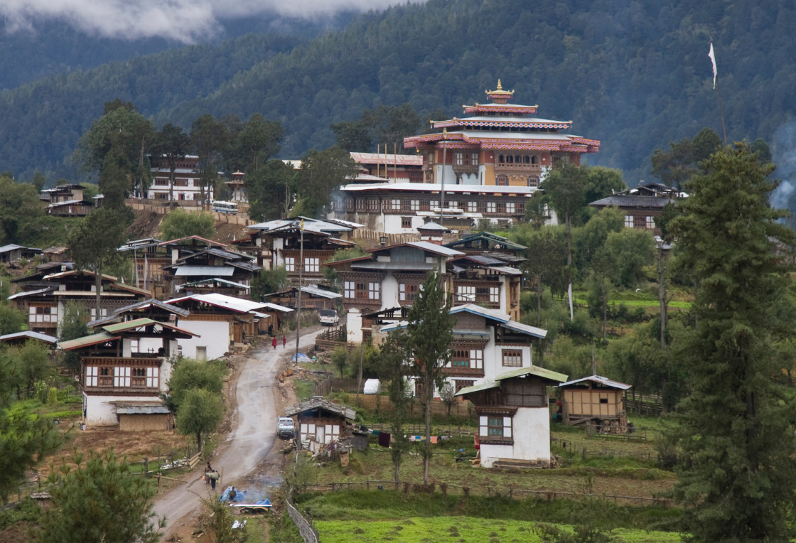 """Gangtay Monastery and village, Bhutan Bhutan"" stock image"