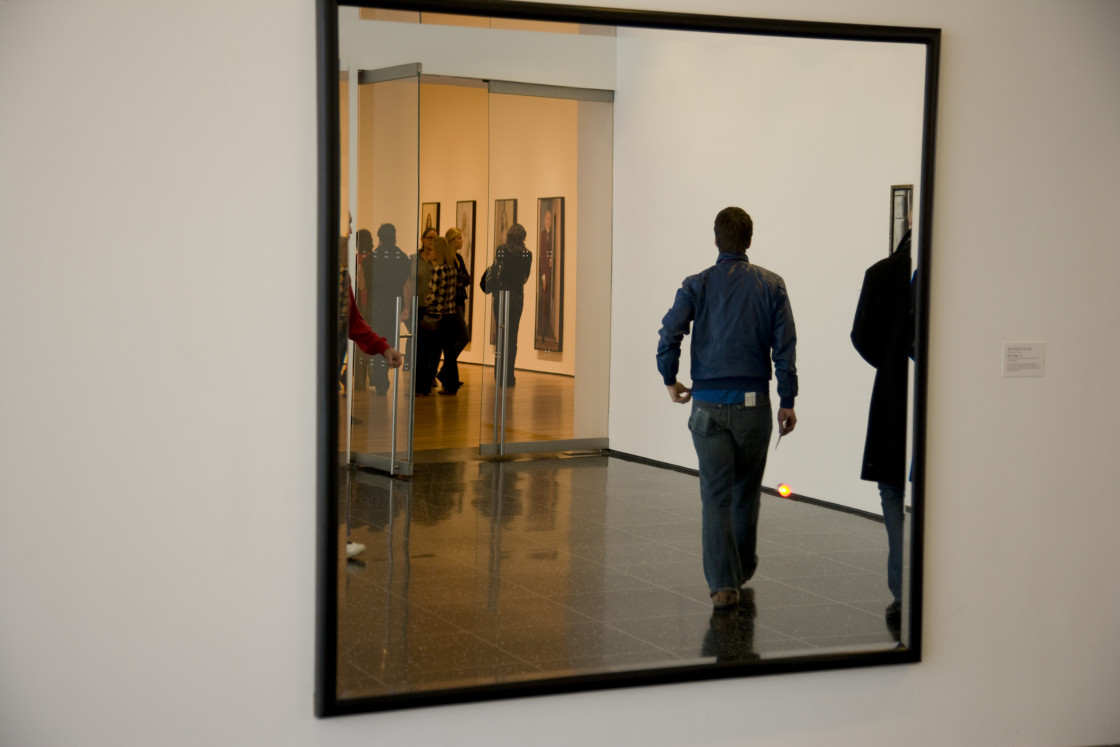 """Reflections in mirror, MOMA, New York"" stock image"