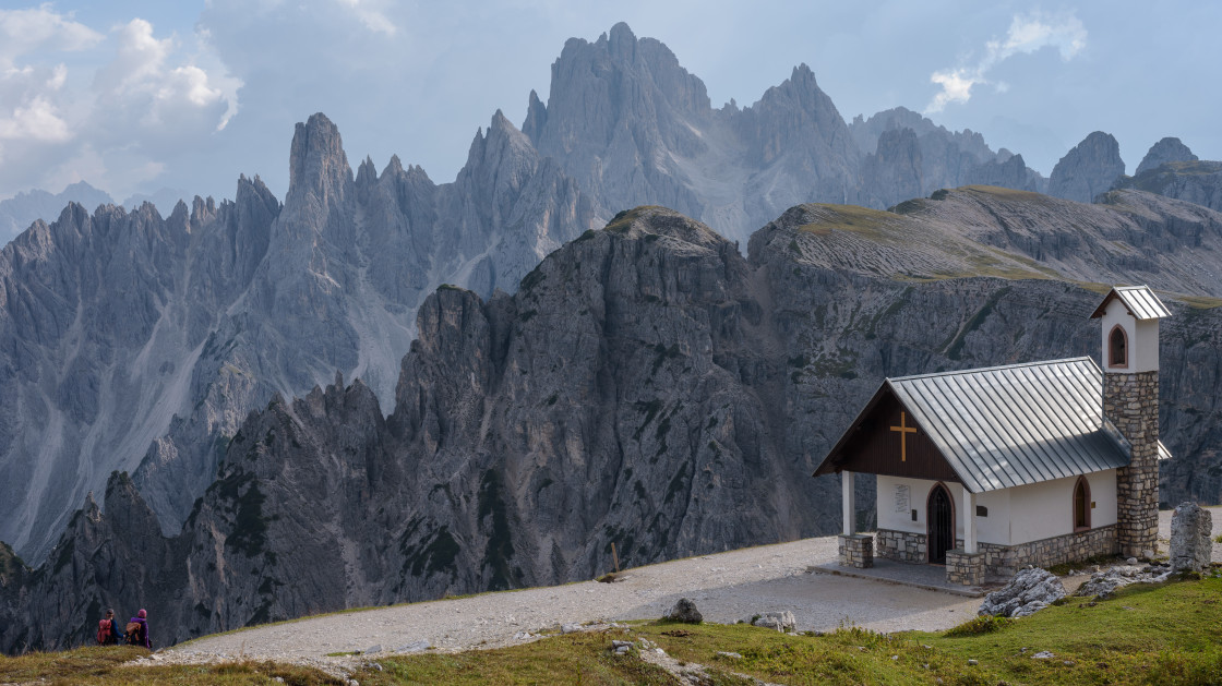 """Mountain Chapel - Dolomites"" stock image"