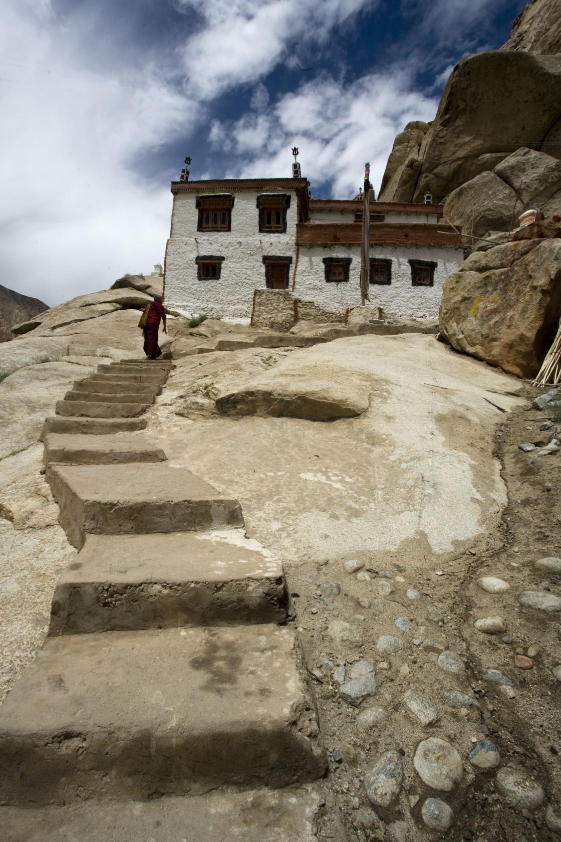 """Monastery, near Leh, Ladakh"" stock image"