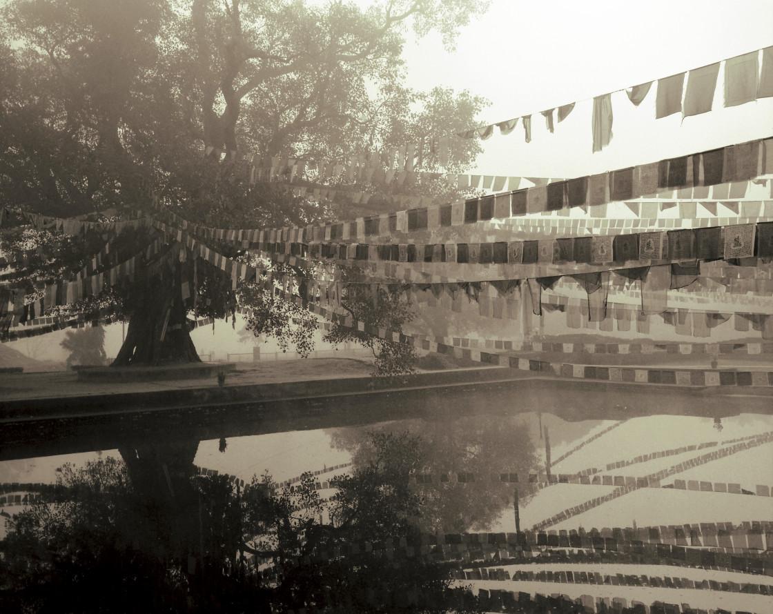 """Prayer flags over water, Lumbini, India"" stock image"