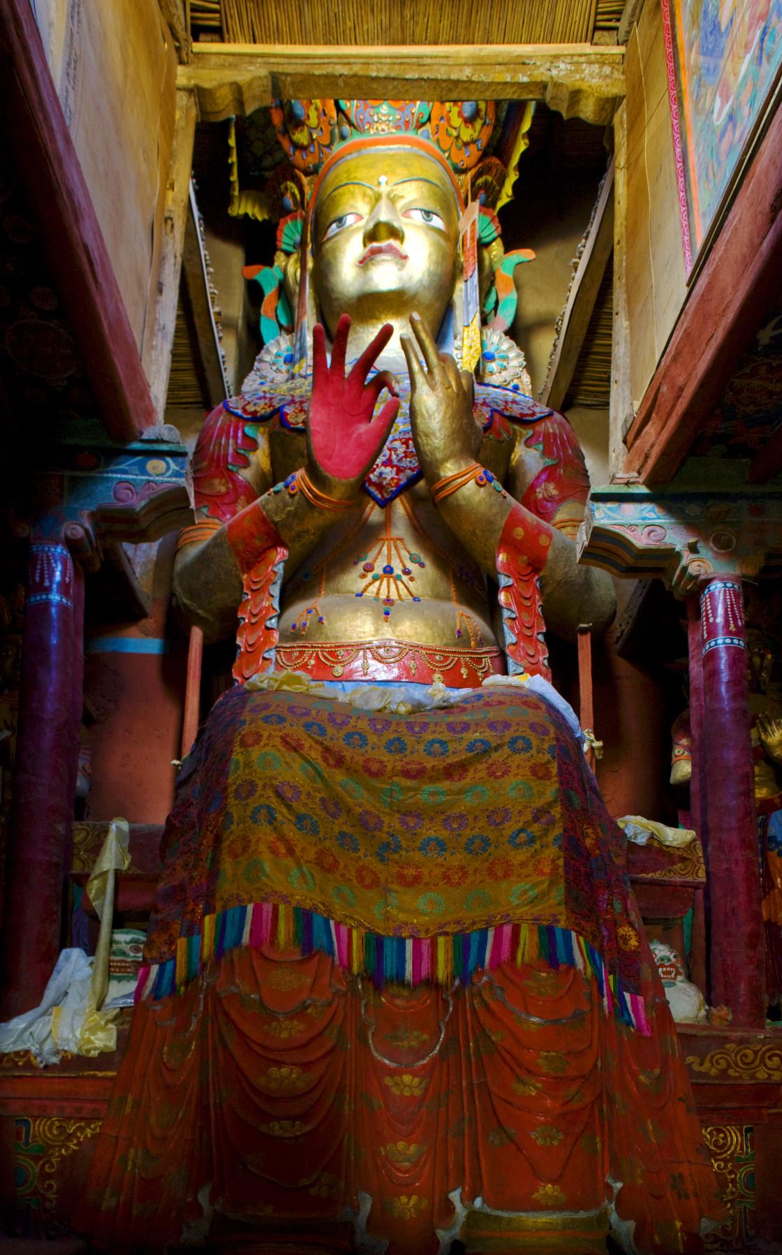 """Maitreya Buddha statue, Thiksey, Ladakh"" stock image"