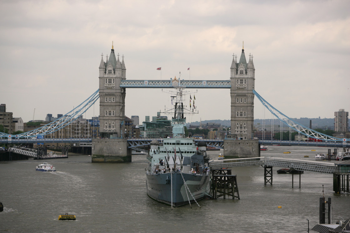 """Ship in front of Tower Bridge, London"" stock image"