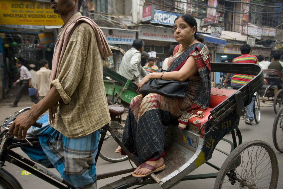 """Woman in Rickshaw, Old Delhi_G3T7370"" stock image"