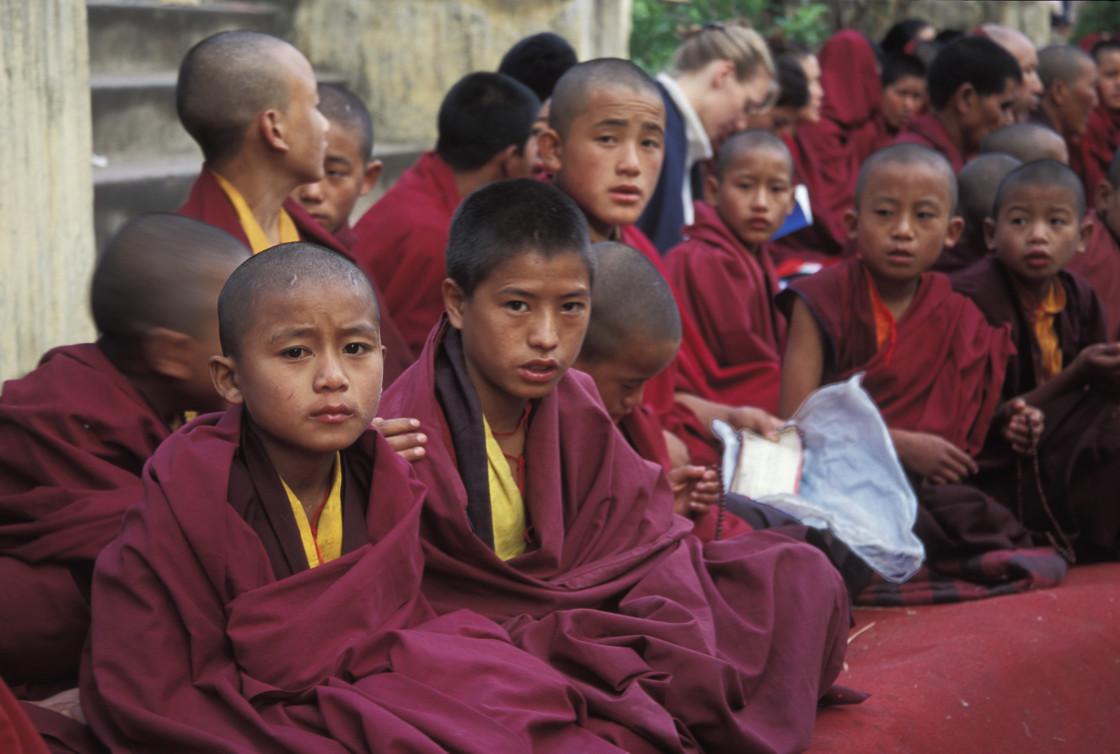 """""""Young monks, Bodhgaya"""" stock image"""