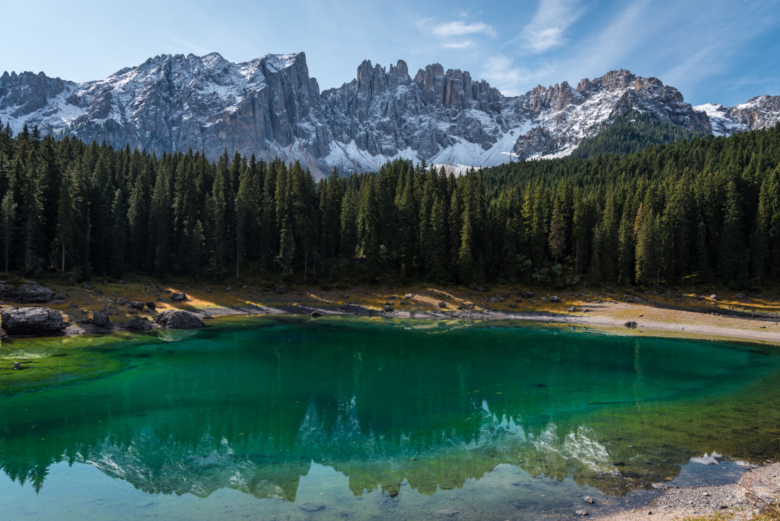 """Lago di Carezza"" stock image"