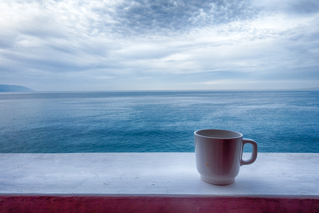"""ocean view with coffee cup"" stock image"