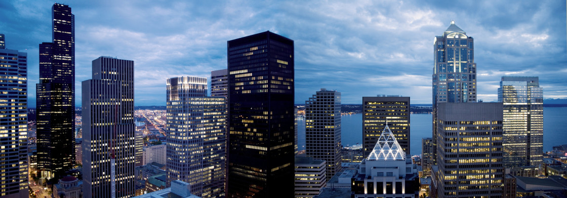 """Seattle night panoramic"" stock image"