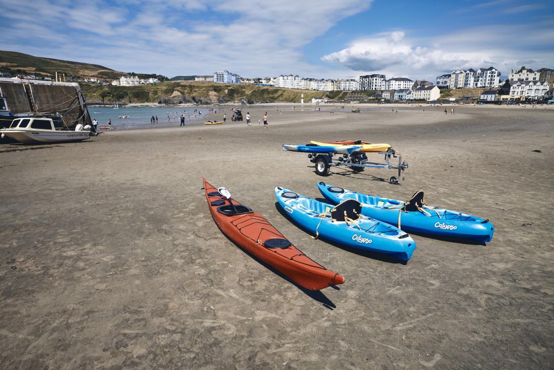 """""""Kayaks on Port Erin beach"""" stock image"""