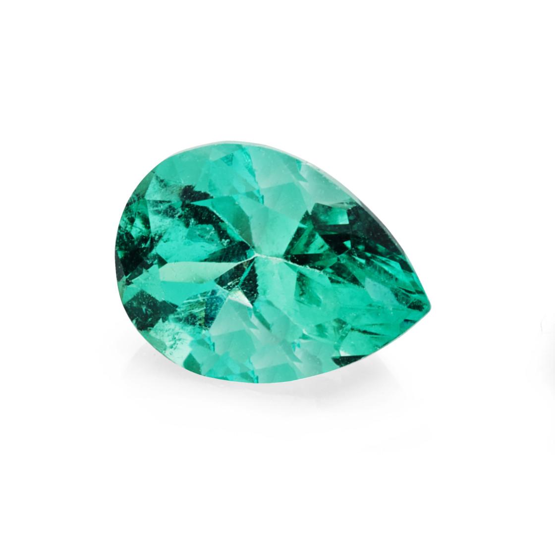 """1.23 carat, pear shape cut green emerald gemstone"" stock image"