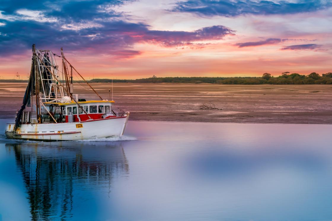 """Trawler returning."" stock image"