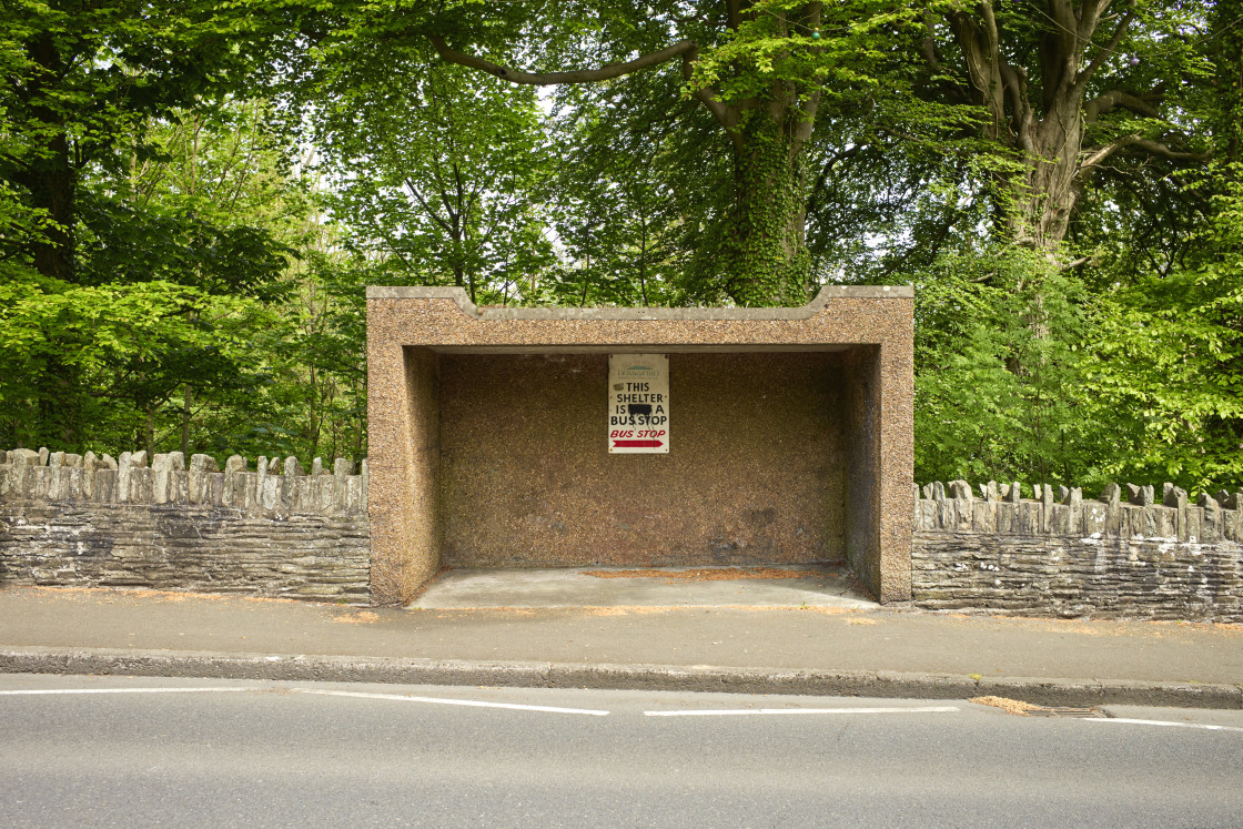 """""""Concrete shelter that is not a bus shelter"""" stock image"""
