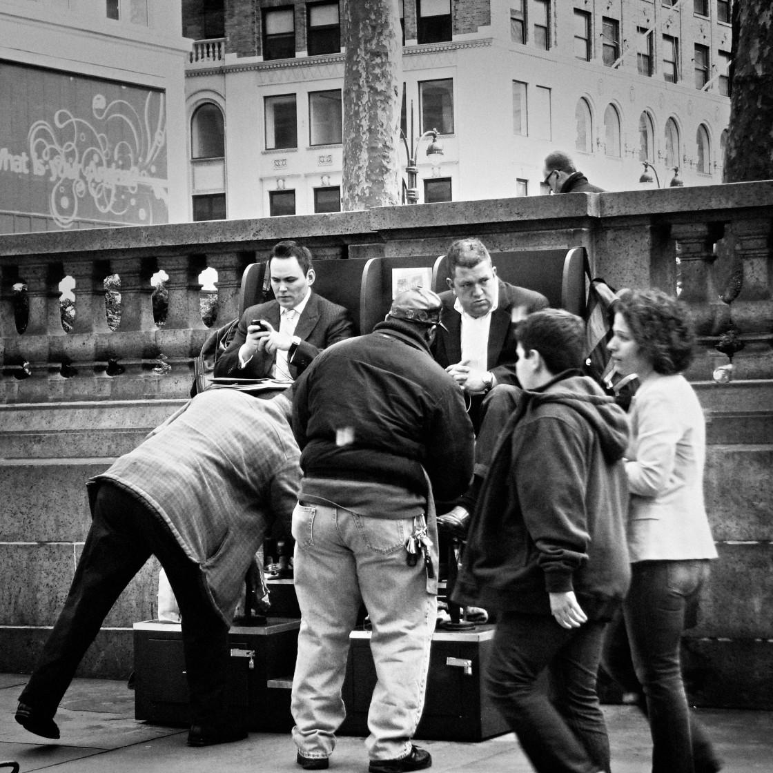 """Shoe shine Manhattan 2008"" stock image"