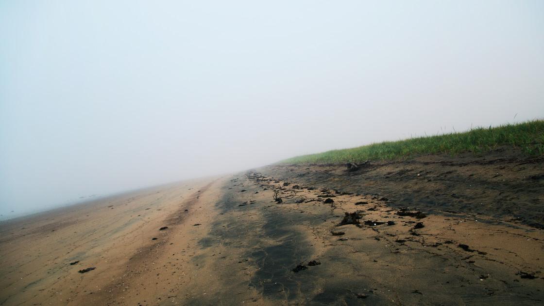 """Beach in the fog"" stock image"