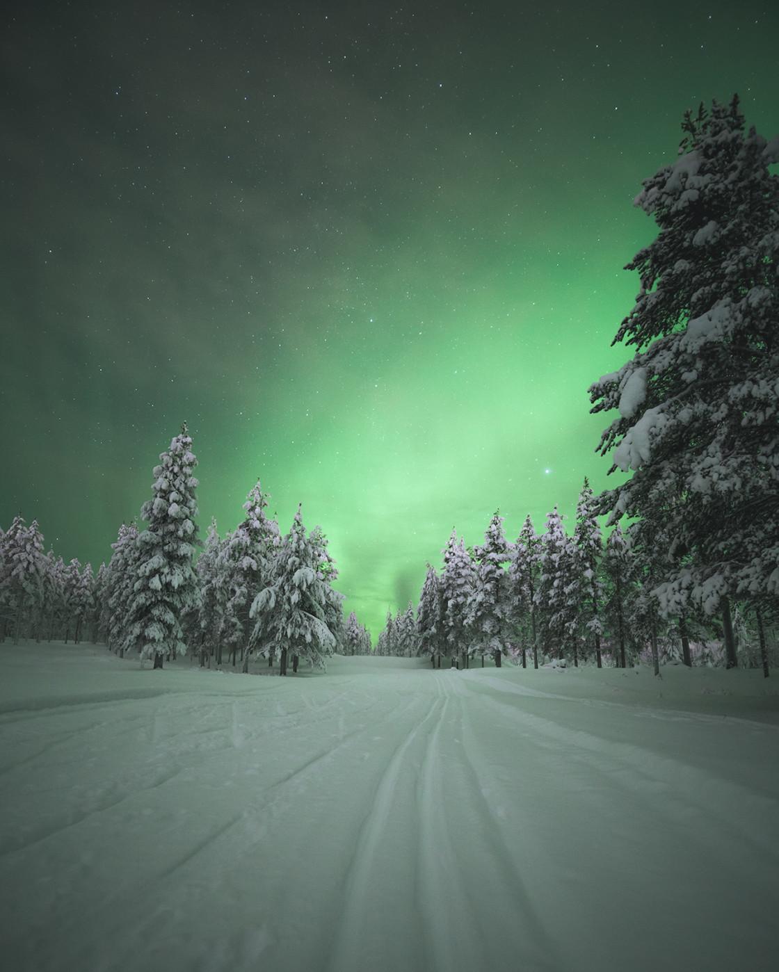"""Skiing under the Aurora Borealis"" stock image"