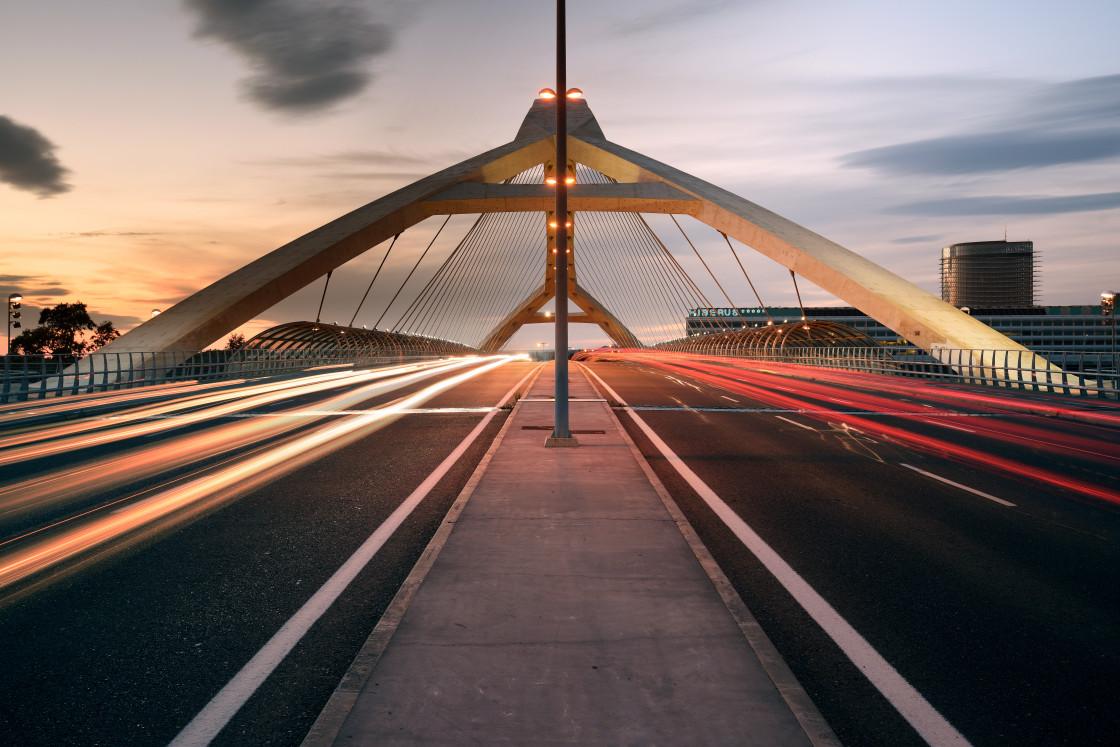 """Third Millennium Bridge at Sunset, Zaragoza, Spain"" stock image"