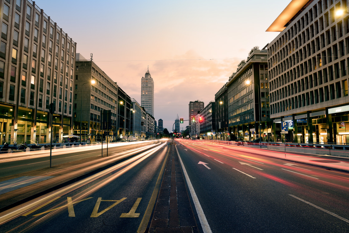"""""""Cityscape at Sunset, Milan, Italy"""" stock image"""