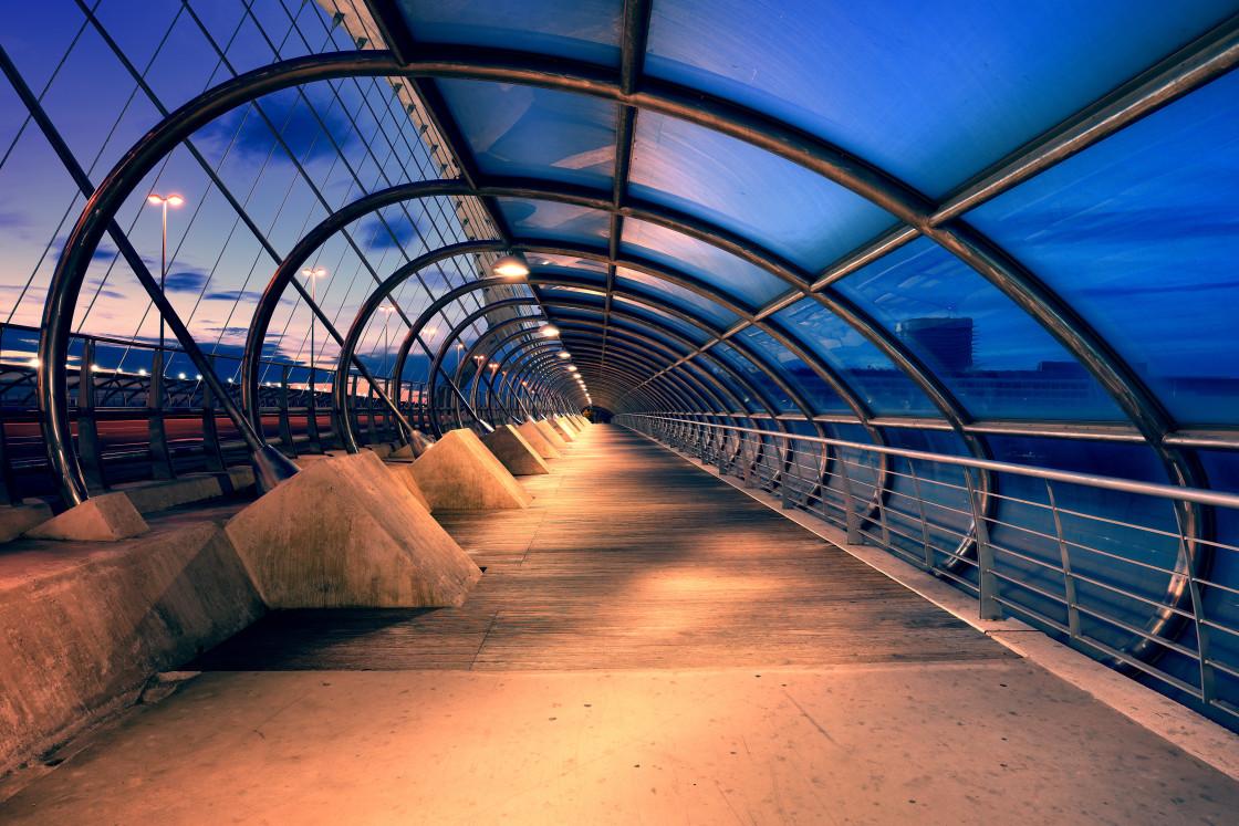 """""""Third Millennium Bridge at Night, Saragozza, Spain"""" stock image"""
