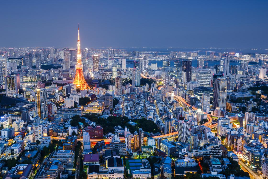 """Cityscape at Night, Tokyo, Japan"" stock image"