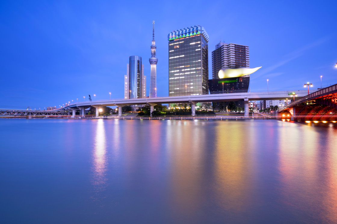 """""""Cityscape with Skytree and Lights Reflected in the Sumida River at Blue Hour, Tokyo, Japan"""" stock image"""