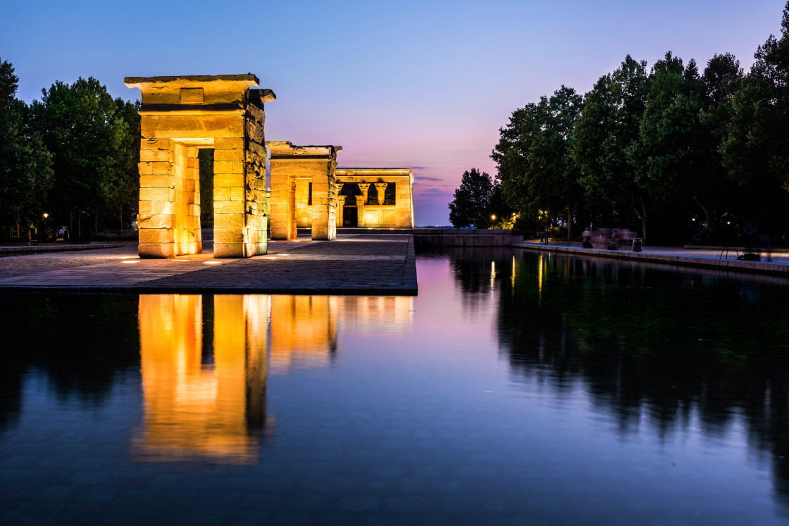 """""""Debod Temple Reflected in the Water at Dusk, Madrid"""" stock image"""