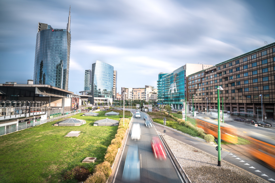 """""""Milan Skyline with Traffic and Skyscrapers of the Financial District"""" stock image"""