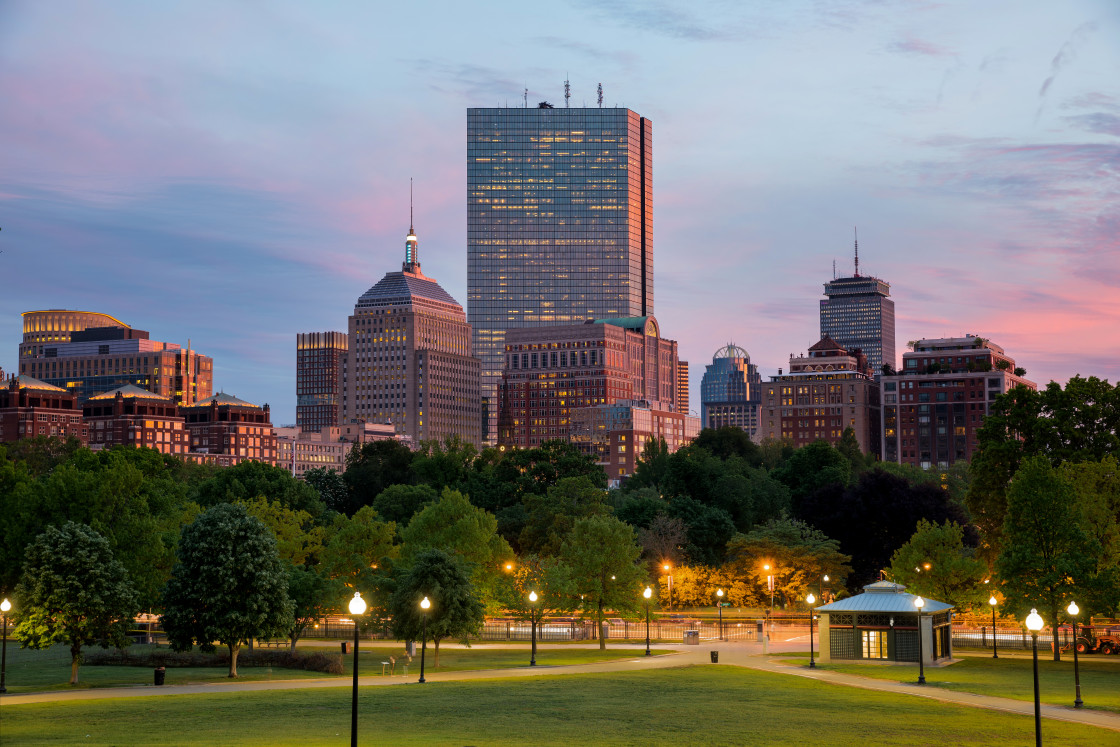 """""""Boston Back Bay Skyline at Sunset from the Boston Common Hill"""" stock image"""