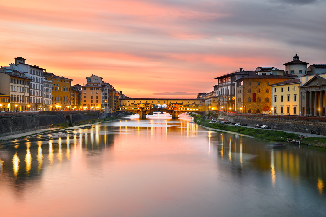 """""""Cityscape at Ponte Vecchio over Arno River at Sunset, Florence, Tuscany, Italy"""" stock image"""