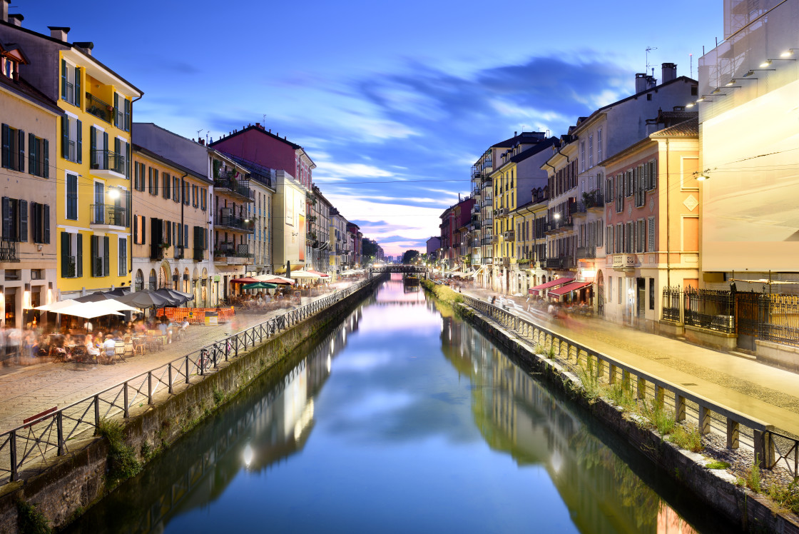 """""""Naviglio Grande Canal at the Blue Hour, Milan, Italy"""" stock image"""