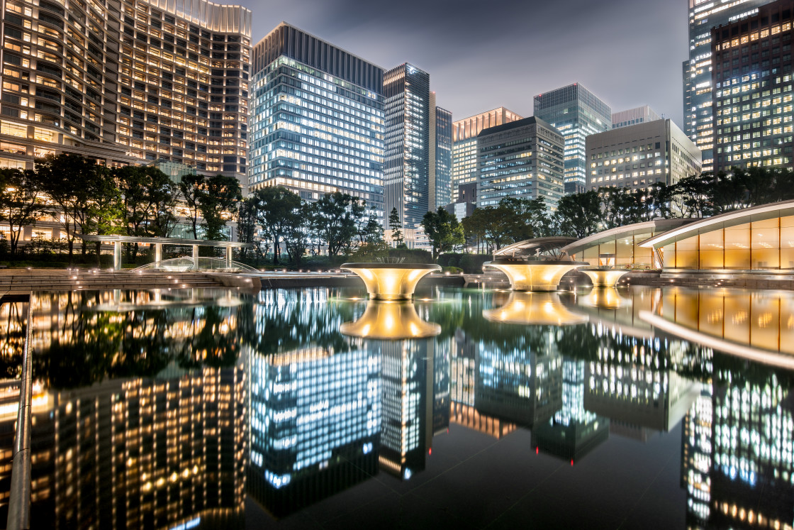 """""""Cityscape in Marunouchi district at night, Tokyo, Japan"""" stock image"""