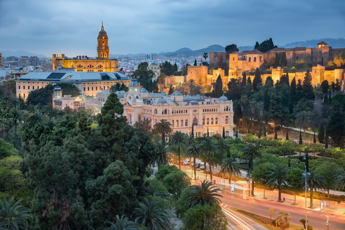 """""""Malaga skyline taken at the blue hour, Andalucia, Spain"""" stock image"""