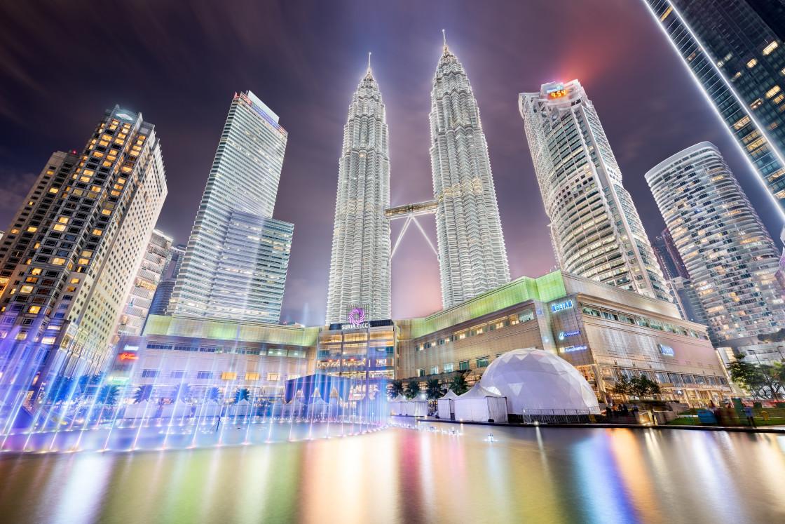 """Petronas Towers at night in Kuala Lumpur"" stock image"