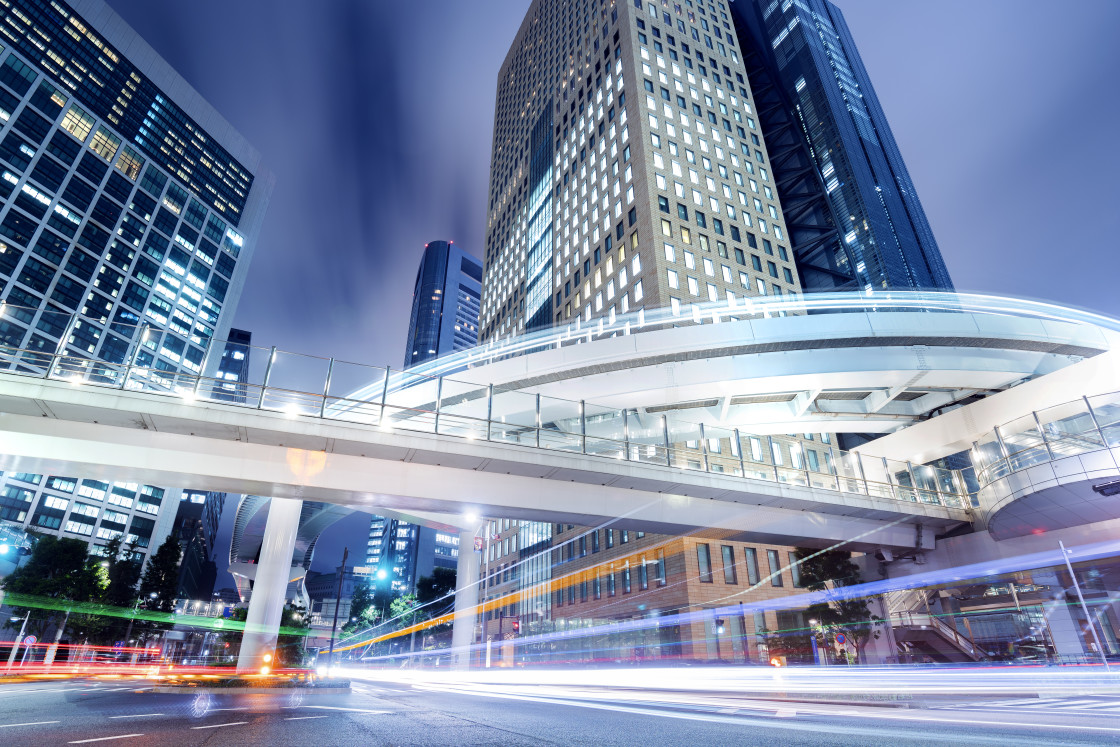 """""""Cityscape at Night in Shiodome District, Tokyo, Japan"""" stock image"""