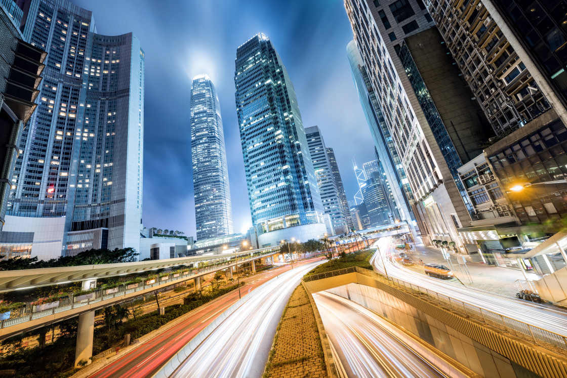 """""""Cityscape at Night in Central District, Hong Kong, China"""" stock image"""