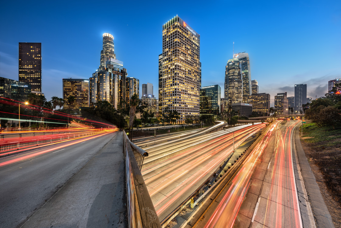 """""""Los Angeles cityscape at the blue hour"""" stock image"""