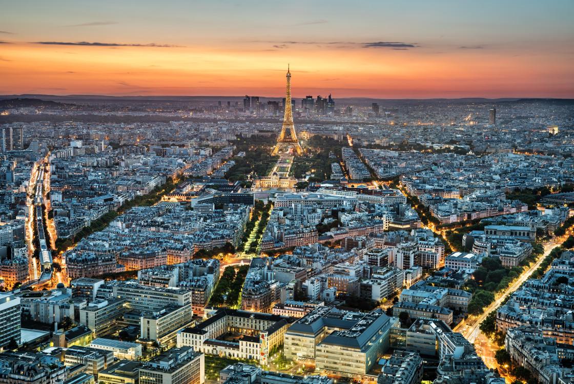 """Paris skyline at sunset, Paris, France"" stock image"