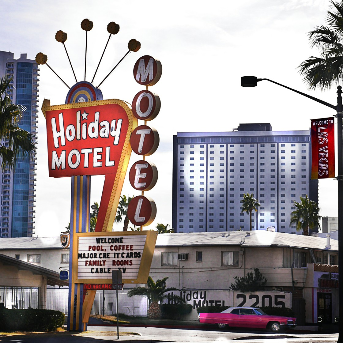 """Picure of the Holiday Motel on the Las Vegas Strip with Pink Cadillac."" stock image"
