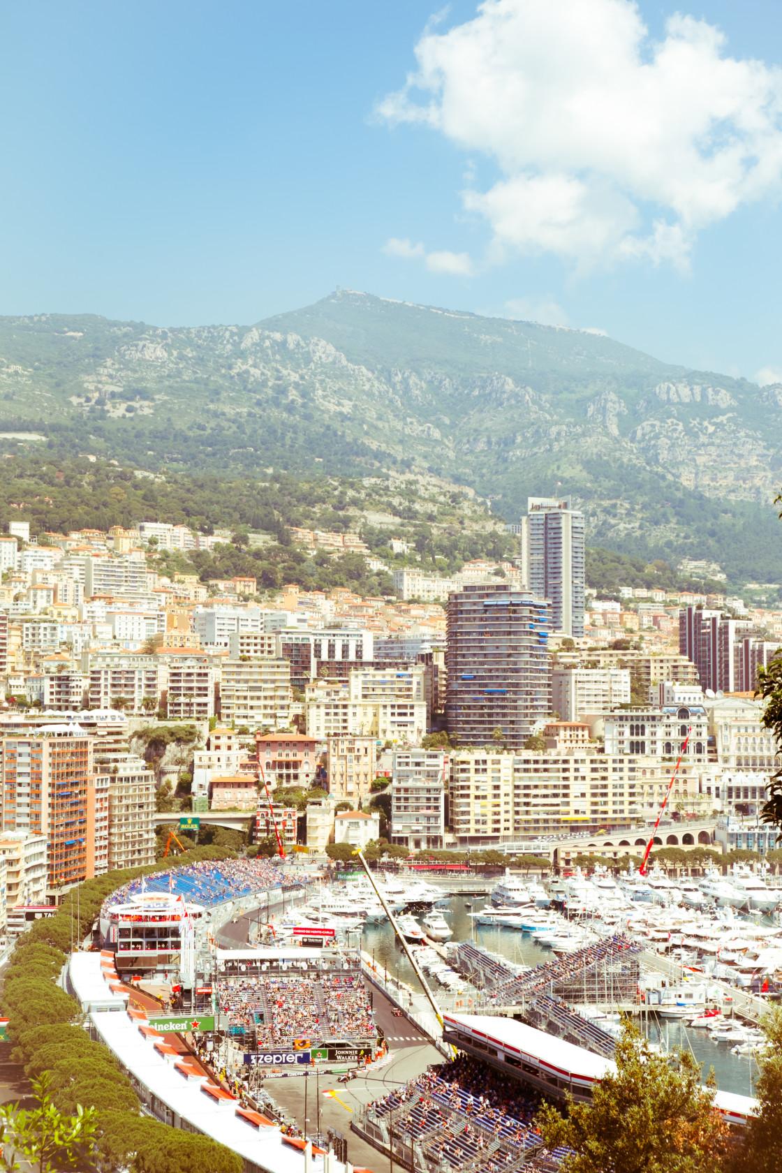 """Monaco Grand Prix circuit and harbour"" stock image"