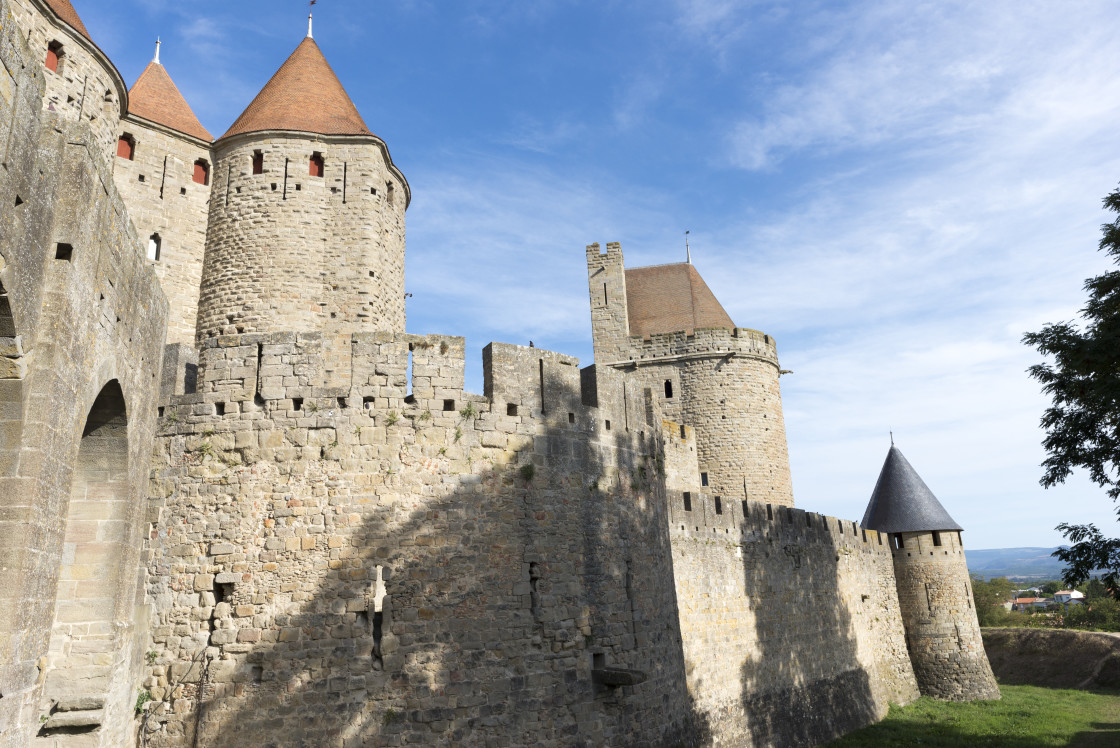 """""""The pretty village of Carcassonne in France"""" stock image"""