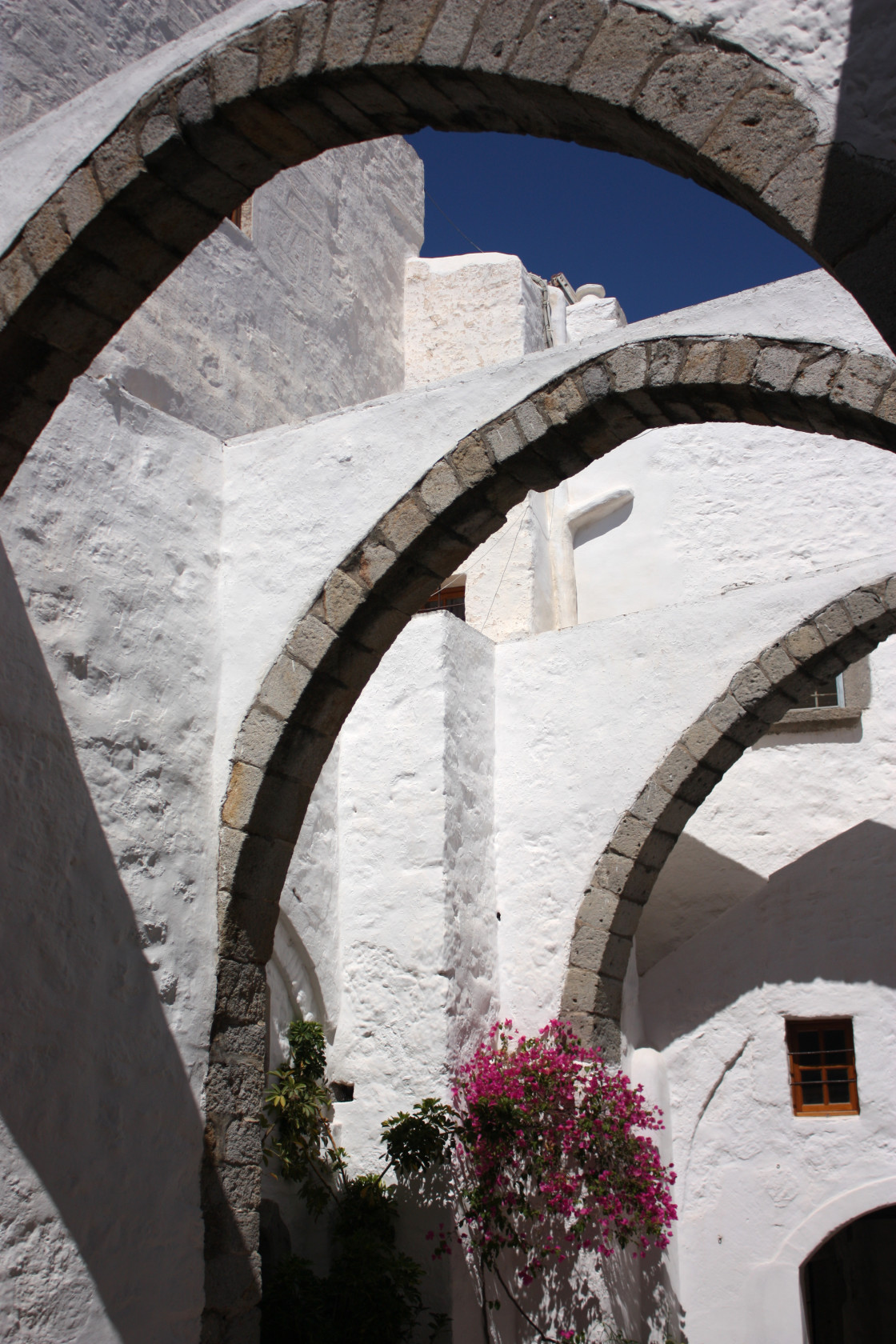 """Arches at the Monastery of Saint John the Theologian in Hora, Patmos"" stock image"