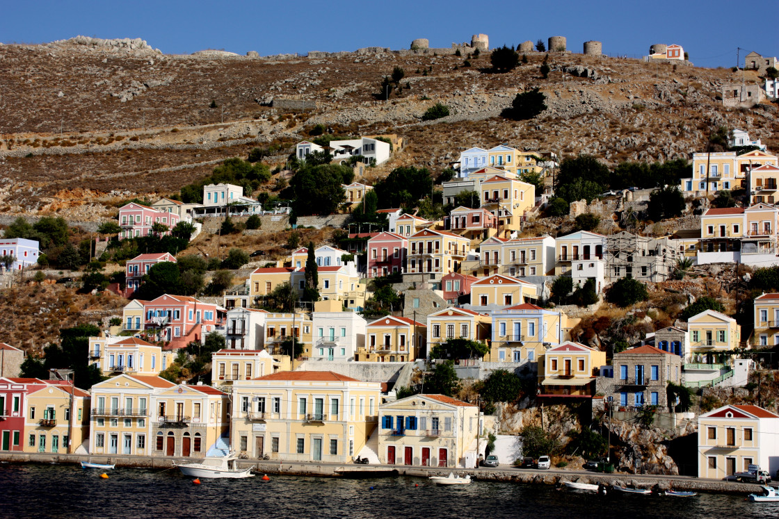 """""""Houses by the water in Symi Town"""" stock image"""