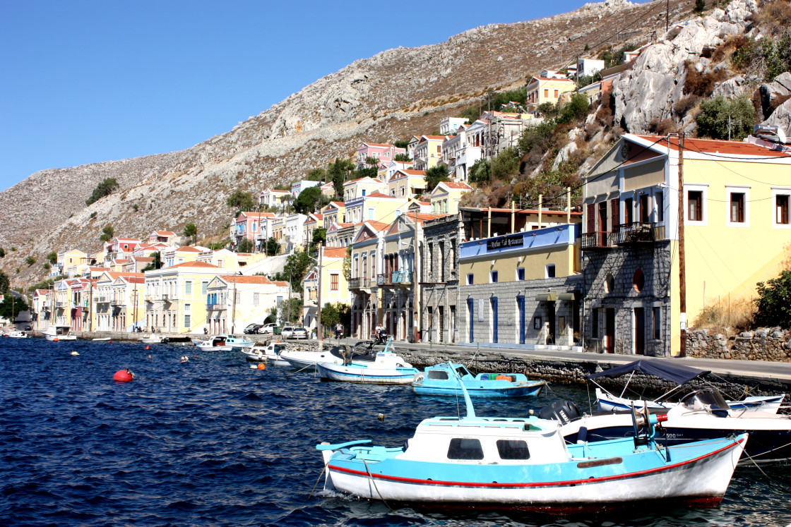 """The harbour of Symi in the Dodecanese islands"" stock image"