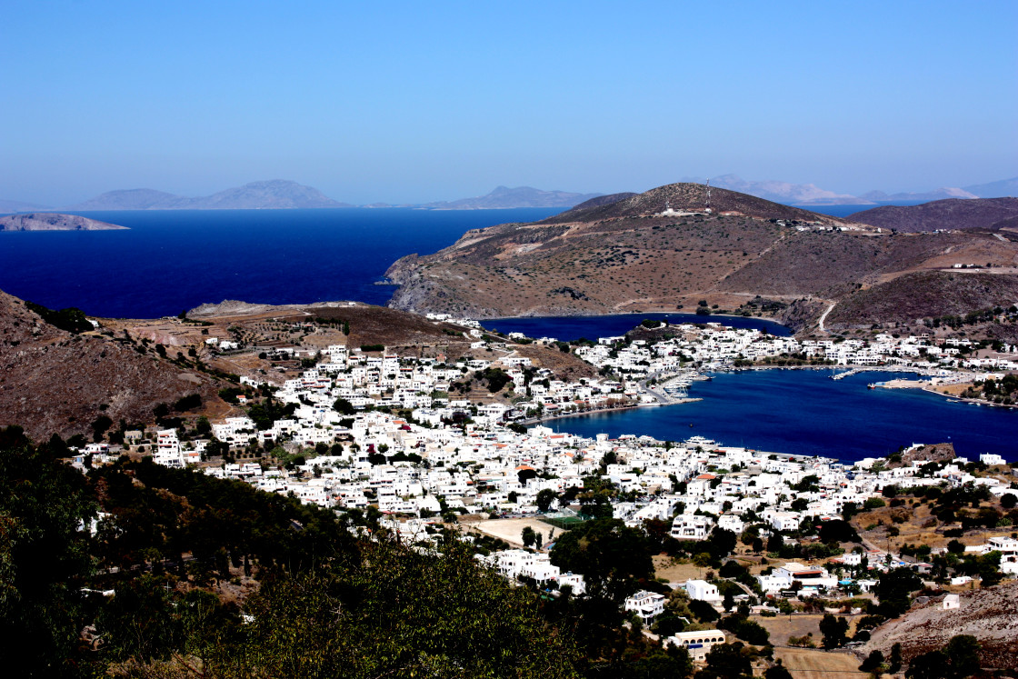 """A view of Skala from Hora on Patmos"" stock image"