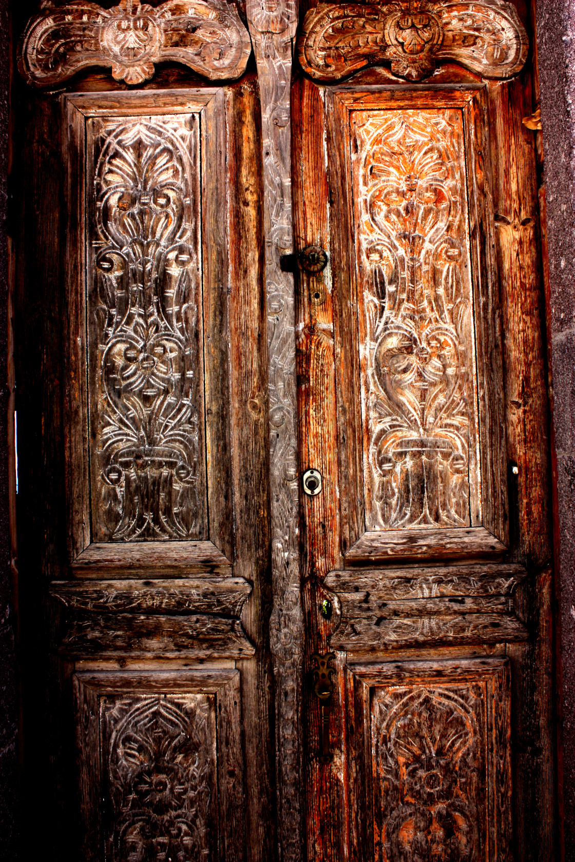 """A wooden door in Hora on Patmos"" stock image"