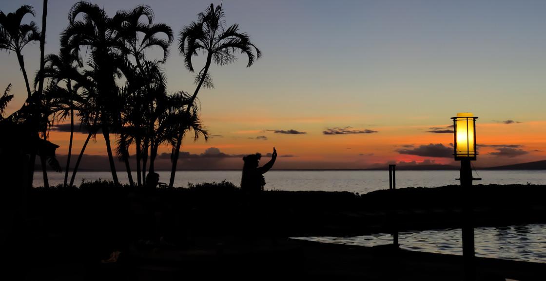 """Hula dancer silhouette"" stock image"