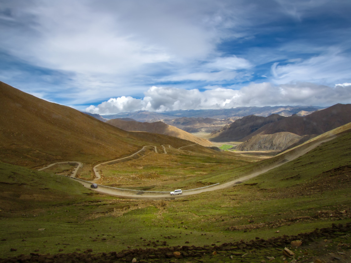 """""""Winding road in mountain landscape"""" stock image"""