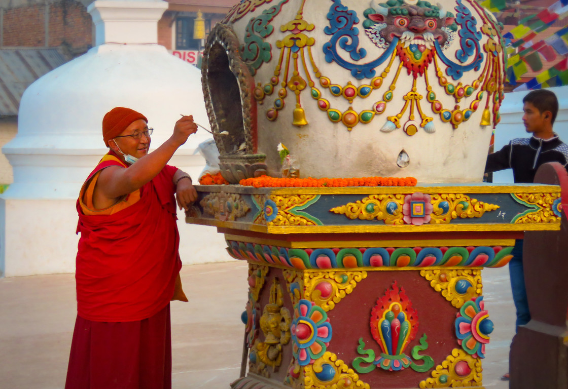 """Happy monk offering"" stock image"
